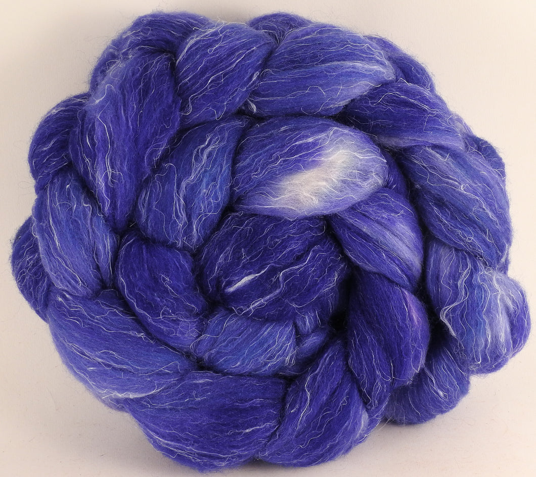 Batt in a Braid #29 - Cornflower (5.4 oz.) - Rambouillet / Tussah / Flax (40/40/20) - Inglenook Fibers