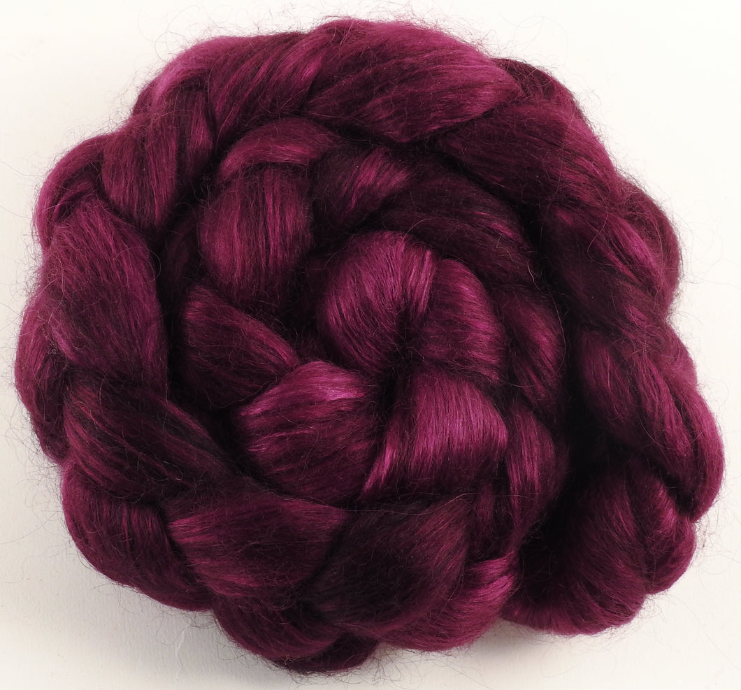 Hand-dyed wensleydale/ mulberry silk roving ( 65/35) -Mulberry- ( 5.2 oz.) - Inglenook Fibers