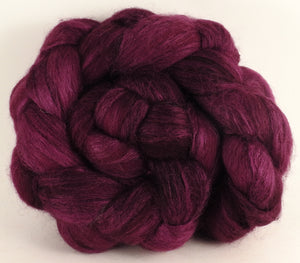 Batt in a Braid #44- Mulberry (5.6 oz) - Southdown/Tussah Silk/Kid Mohair (65/25/10) - Inglenook Fibers