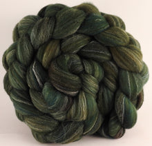 Hand dyed top for spinning -Zucchini - (5.3 oz.) Targhee/silk/ bamboo (80/10/10) - Inglenook Fibers