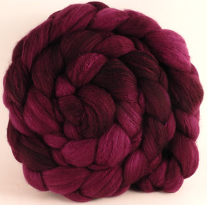 Hand dyed top for spinning - Mulberry - Organic Polwarth / Tussah silk (80/20) - Inglenook Fibers