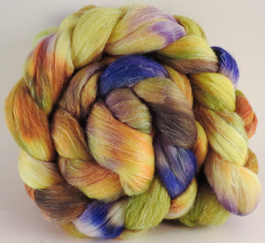 Batt in a Braid #29 - Field of Sunflowers (5.1 oz.) Rambouillet / Tussah / Flax (40/40/20) - Inglenook Fibers