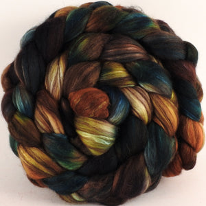 Hand dyed top for spinning - Trilobite (5.3 oz) - 18.5 mic merino/ camel/ brown alpaca/ mulberry silk/ (40/20/20/20)