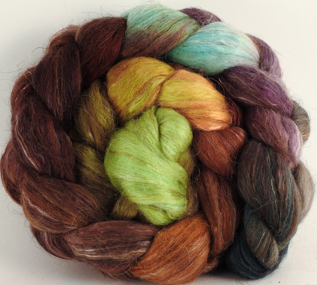 Batt in a Braid #31- Bronze Oak -( 6.2 oz. ) - Polwarth/ Mulberry Silk / Baby Alpaca / Rainbow Firestar/ Tencel( 40/25/15/10/10) - Inglenook Fibers