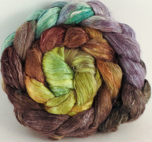 Hand dyed Tussah Silk / flax roving - Bronze Oak- (65/35)- 6 oz.