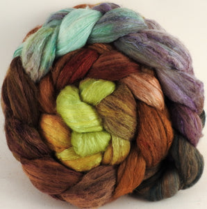 Batt in a Braid #5 -Bronze Oak -(5.1 oz.) Merino/ Camel/ silk/ faux cashmere/ firestar (25/25/25/12/12) - Inglenook Fibers