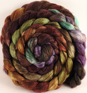 Hand dyed yak/ mulberry silk top -Bronze Oak (5.1 oz.) - YAK /silk (50/50) - Inglenook Fibers