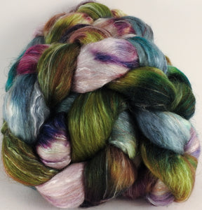 Batt in a Braid #31- Bramble - (5.4 oz. ) Polwarth/ Mulberry Silk / Baby Alpaca / Rainbow Firestar/ Tencel( 40/25/15/10/10)