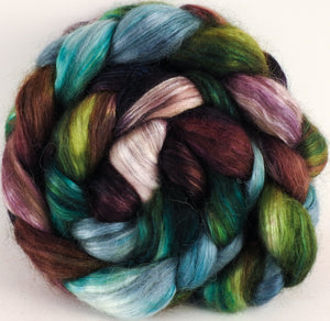 Hand-dyed wensleydale/ mulberry silk roving (65/35) -Bramble - (5.2 oz.) - Inglenook Fibers