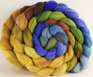 RESERVED FOR ARCTICSPINNER - Hand dyed top for spinning - (11.6 oz) Organic Polwarth / Tussah silk (80/20) - Inglenook Fibers