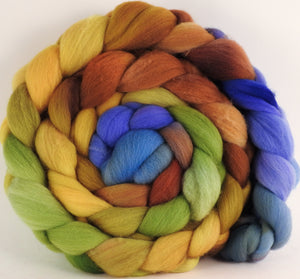 Hand dyed top for spinning - Toulouse ( lite )- (5.2 oz.) Organic Polwarth - Inglenook Fibers
