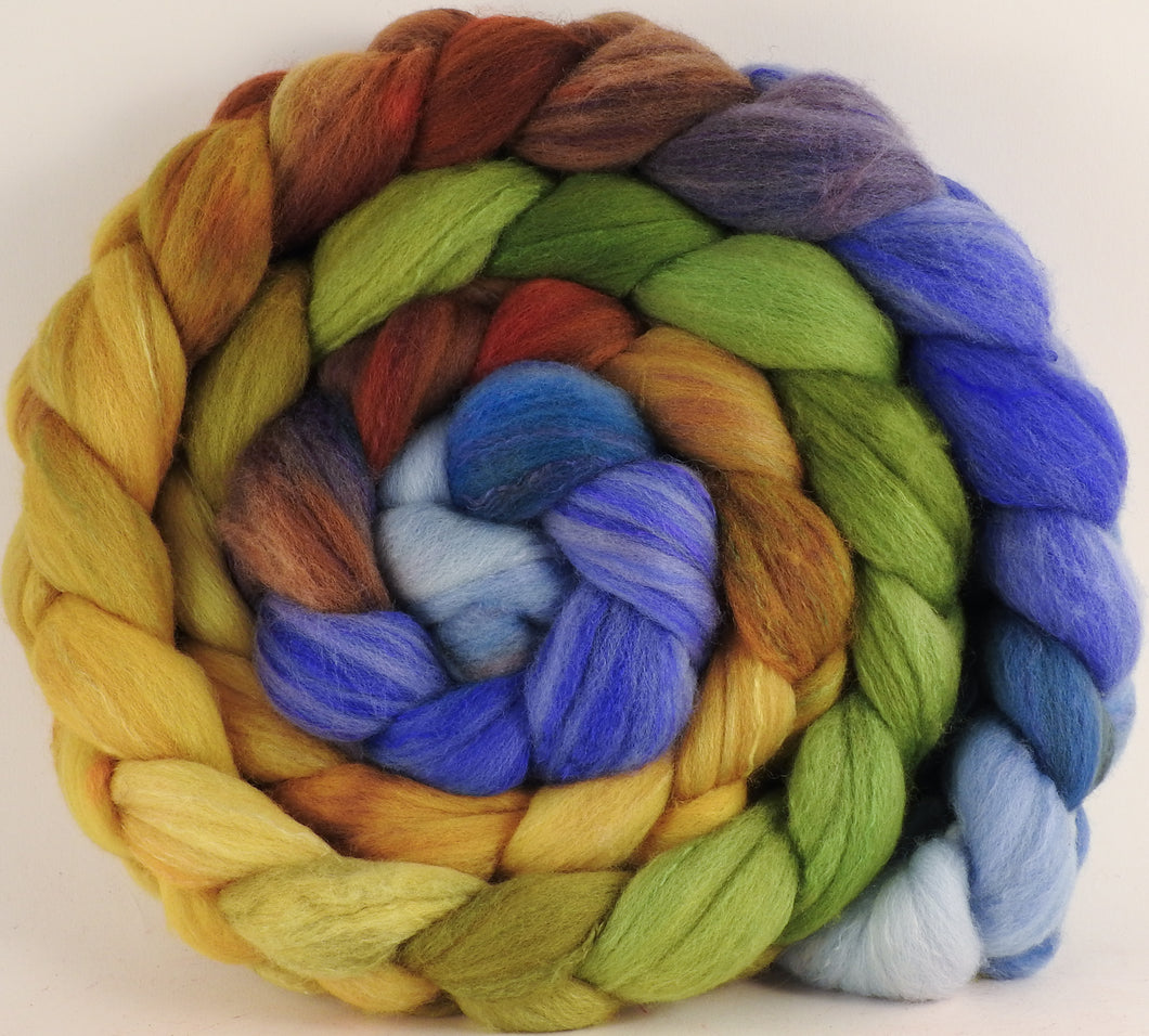 Hand dyed top for spinning - Toulouse ( lite)  - (5.8 oz) Organic Polwarth / Tussah silk (80/20) - Inglenook Fibers