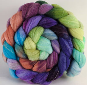 Hand dyed top for spinning - Sea Blooms - (5.5 oz.) Targhee/silk/ bamboo ( 80/10/10) - Inglenook Fibers