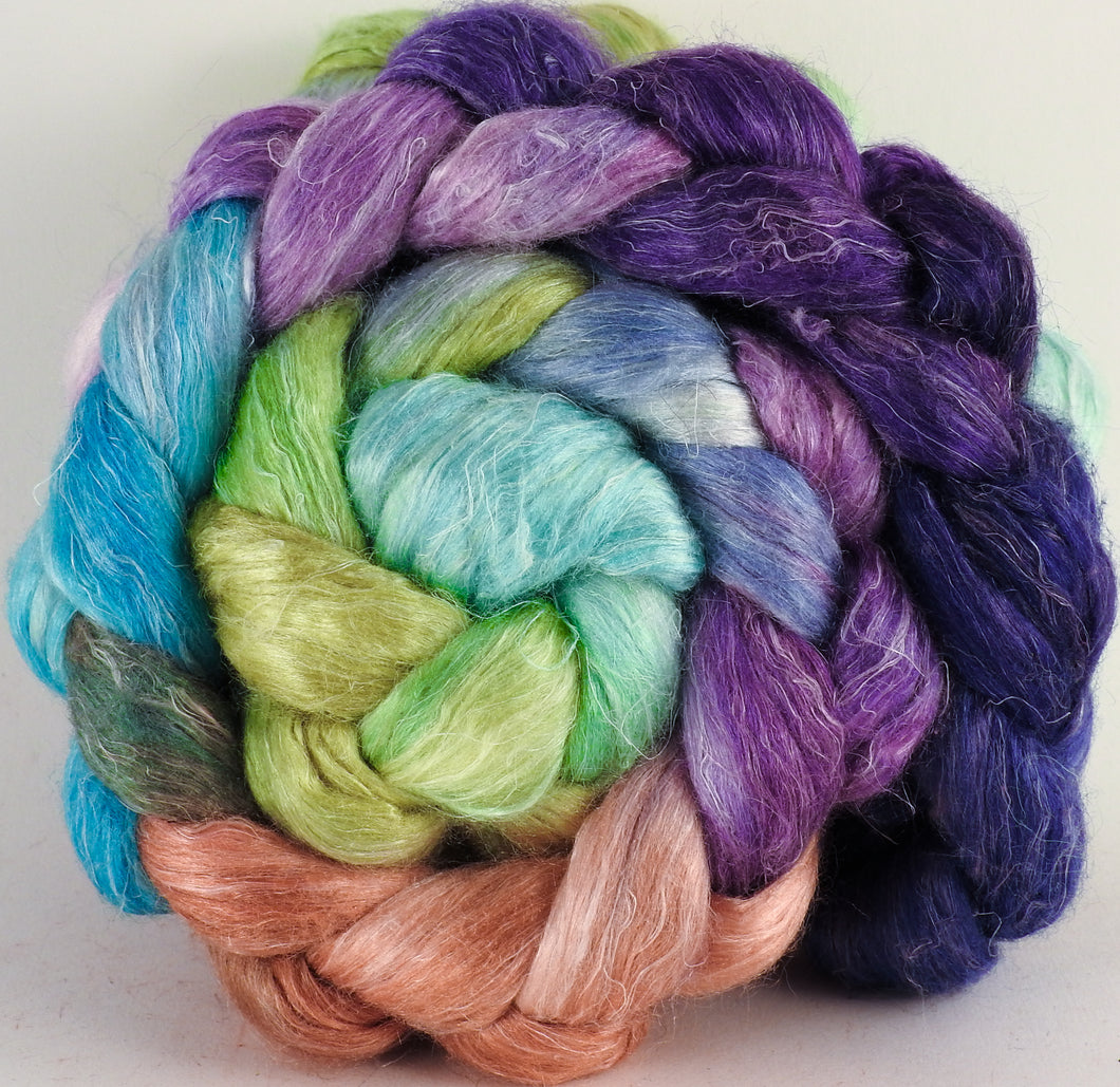 Hand dyed Tussah Silk / flax roving - Sea Blooms - (65/35)- (4.7 oz.) - Inglenook Fibers