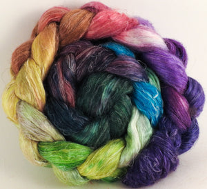 Hand dyed Tussah Silk / flax roving - Hawaiian Shirt - (65/35)- (4.7 oz.) - Inglenook Fibers