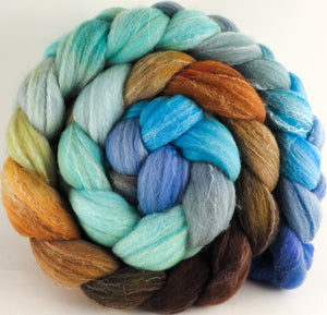 Hand dyed top for spinning - Barefoot - (5.4 oz.) Targhee/silk/ bamboo ( 80/10/10) - Inglenook Fibers