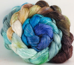 Hand dyed Tussah Silk / flax roving - Barefoot - (65/35)- (4.8 oz.)