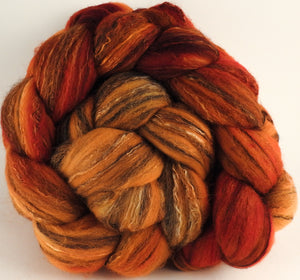 Batt in a Braid #30-  Kumquat (5.3 oz.) - Charollais/ Rambouillet / Black tussah /Mulberry silk (40/40/10/10) - Inglenook Fibers