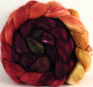 Hand-dyed wensleydale/ mulberry silk roving (65/35) - Cherry Medley - (5.4 oz.)