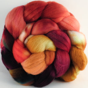 Hand dyed top for spinning - Cherry Medley - (5.3 oz.) Organic Polwarth - Inglenook Fibers