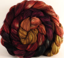 Hand dyed top for spinning - Cherry Medley - (5.2 oz.) 18.5 mic merino/ camel/ brown alpaca/ mulberry silk/ (40/20/20/20) - Inglenook Fibers