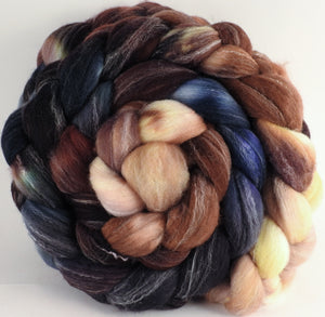 Hand dyed top for spinning - Kestrel - (5.5 oz.) Targhee/silk/ bamboo (80/10/10) - Inglenook Fibers