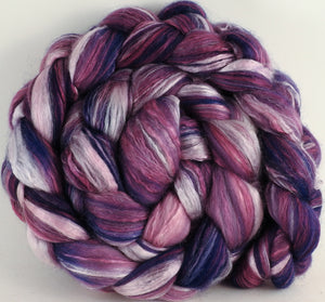 Batt in a Braid #45 - Damson Plum (5.4 oz.) - Corriedale/Mulberry Silk/Rose Fiber (60/20/20) - Inglenook Fibers