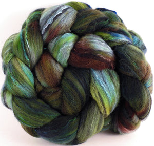 Batt in a Braid #30-  Algae (5.3 oz.) - Charollais/ Rambouillet / Black tussah /Mulberry silk (40/40/10/10) - Inglenook Fibers