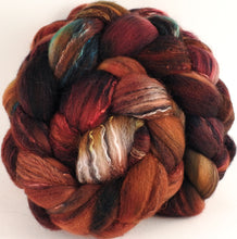 Batt in a Braid #30- Scorched (5.3 oz.) - Charollais/ Rambouillet / Black tussah /Mulberry silk (40/40/10/10)