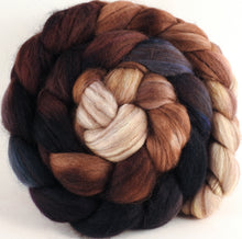 Hand dyed top for spinning - Kestrel (5.1 oz) - 18.5 mic merino/ camel/ brown alpaca/ mulberry silk/ (40/20/20/20) - Inglenook Fibers