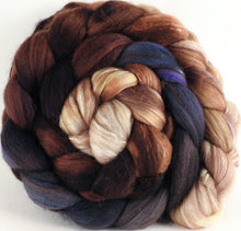 Hand dyed top for spinning - Kestrel (5.1 oz) - 18.5 mic merino/ camel/ brown alpaca/ mulberry silk/ (40/20/20/20)