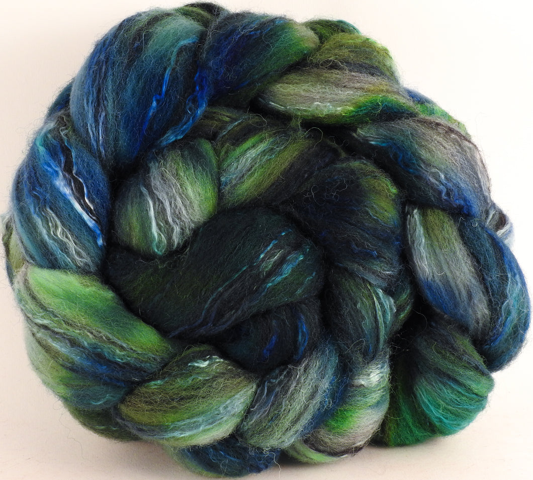 Batt in a Braid #30- Subaquatic (5.3 oz.) - Charollais/ Rambouillet / Black tussah /Mulberry silk (40/40/10/10)