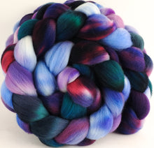 Hand dyed top for spinning - Hyacinths - (5.3 oz.) Organic Polwarth