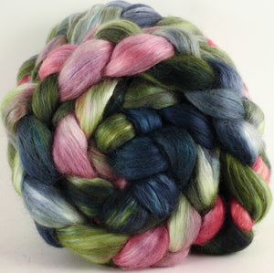Hand-dyed wensleydale/ mulberry silk roving ( 65/35) - Lotus - (5.1 oz.) - Inglenook Fibers