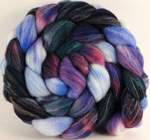 Hand dyed top for spinning - Hyacinths - Targhee/silk/ bamboo (80/10/10)