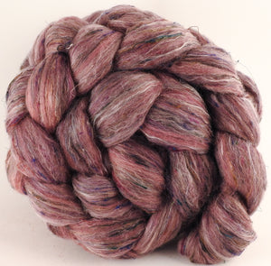 Batt in a Braid #46 - Cochineal (5.1 oz) - Rambouillet/ Corriedale / Ramie/Sari Silk (25/25/25/25)