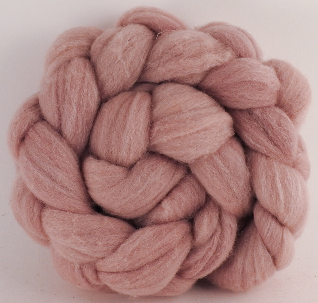 Hand dyed top for spinning -Lac/Madder - Targhee/silk/ bamboo ( 80/10/10)- 2.6 oz. - Inglenook Fibers