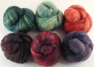 Natural Dyed Fiber Batts -Winter Berries - 80% wool, 20% silk - 4.4 oz. - Inglenook Fibers