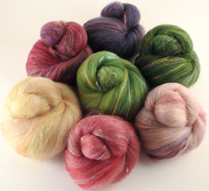 Natural Dyed Fiber Batts - Foxglove- 80% wool, 20% silk - Inglenook Fibers