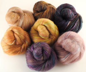 Natural Dyed Fiber Batts - Fungi - 80% wool, 20% silk - 5.1 oz. - Inglenook Fibers