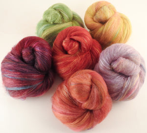 Natural Dyed Fiber Batts -Poppies - 80% wool, 20% silk - 4.6 oz.