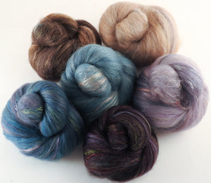 Natural Dyed Fiber Batts - House Sparrows - 80% wool, 20% silk - Inglenook Fibers