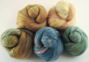 Natural Dyed Fiber Batts -Thrush - 80% wool, 20% silk - 3.4 oz. - Inglenook Fibers