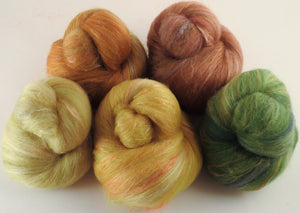 Natural Dyed Fiber Batts -Meadow Buttercup - 80% wool, 20% silk - 3.4 oz. - Inglenook Fibers