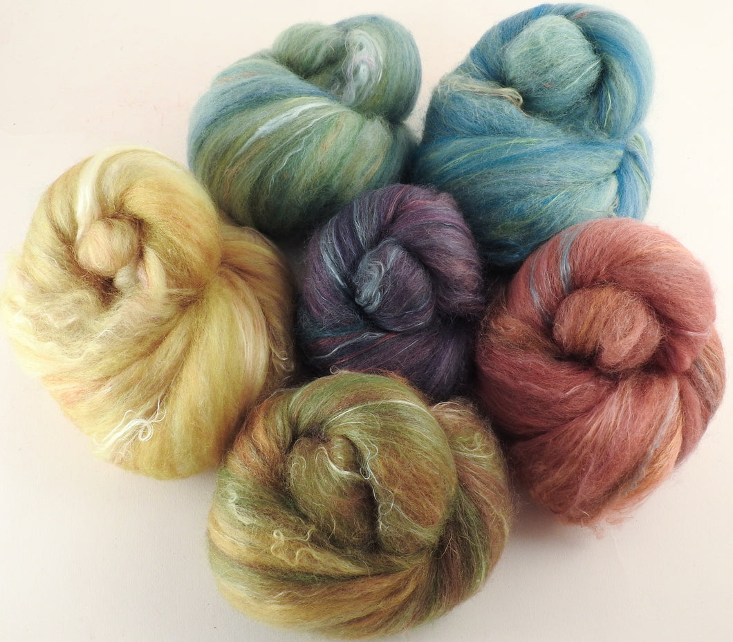 Natural Dyed Fiber Batts -March - 80% wool, 20% silk - 4.7 oz. - Inglenook Fibers