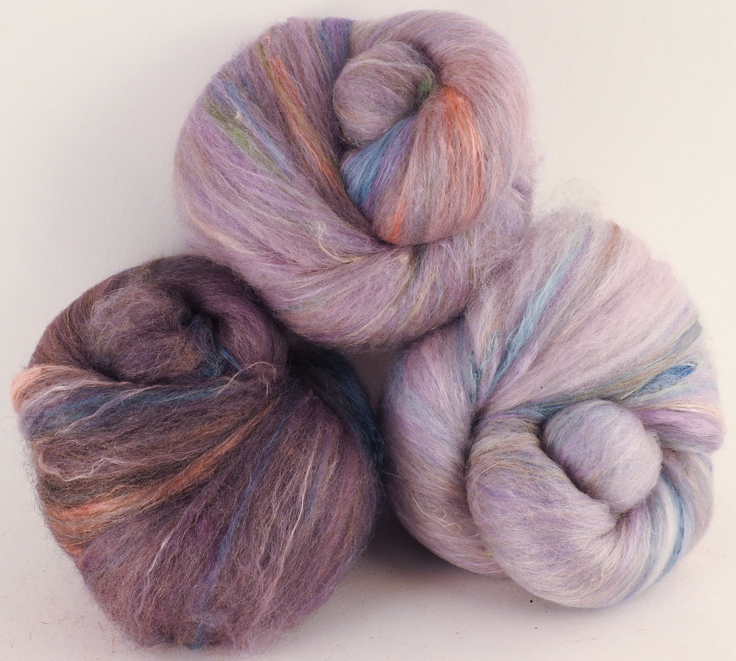 Natural Dyed Fiber Batts -Purple Heart's-ease - 80% wool, 20% silk - 3.4 oz. - Inglenook Fibers