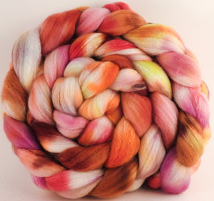 Hand dyed top for spinning -Petit Fours - (5.6 oz) Organic Polwarth / Tussah silk (80/20)