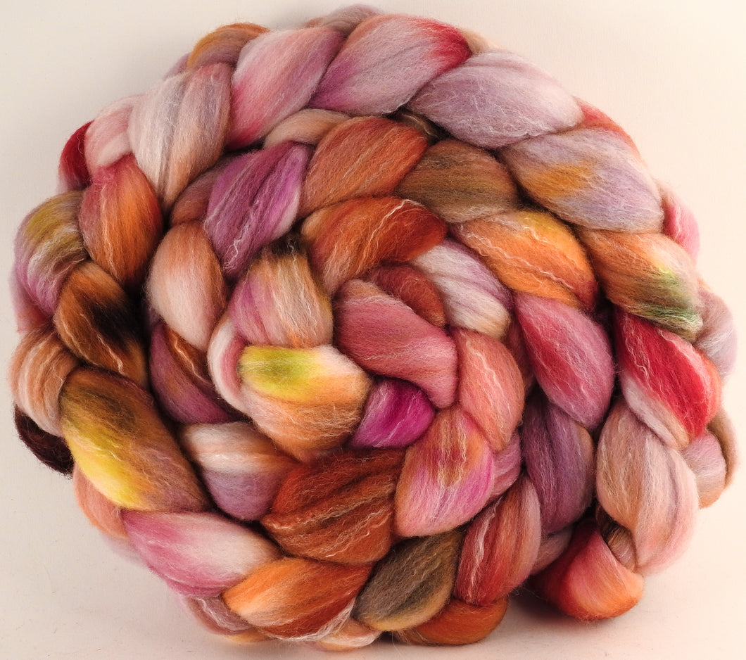 Hand dyed top for spinning - Petit Fours (5.8 oz.) Targhee/silk/ bamboo ( 80/10/10) - Inglenook Fibers