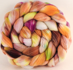 Hand dyed top for spinning -Petit Fours ( Lite)  (5.7 oz.) Targhee/silk/ bamboo ( 80/10/10) - Inglenook Fibers