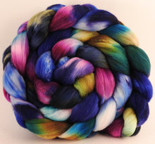 Hand dyed top for spinning -Electric Slide - (5.7 oz) Organic Polwarth / Tussah silk (80/20) - Inglenook Fibers